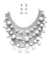 Fancy Necklace Earrings Set Synthetic White Pea... - $48.39