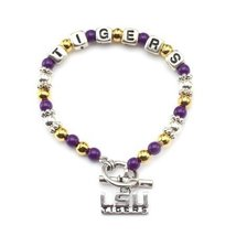 Louisiana State University Tigers Stretch Toggle Logo Fun Bracelet with ... - $395,20 MXN