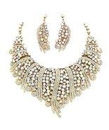 Fancy Crystal Necklace Earrings Set Clear AB Go... - $128.58