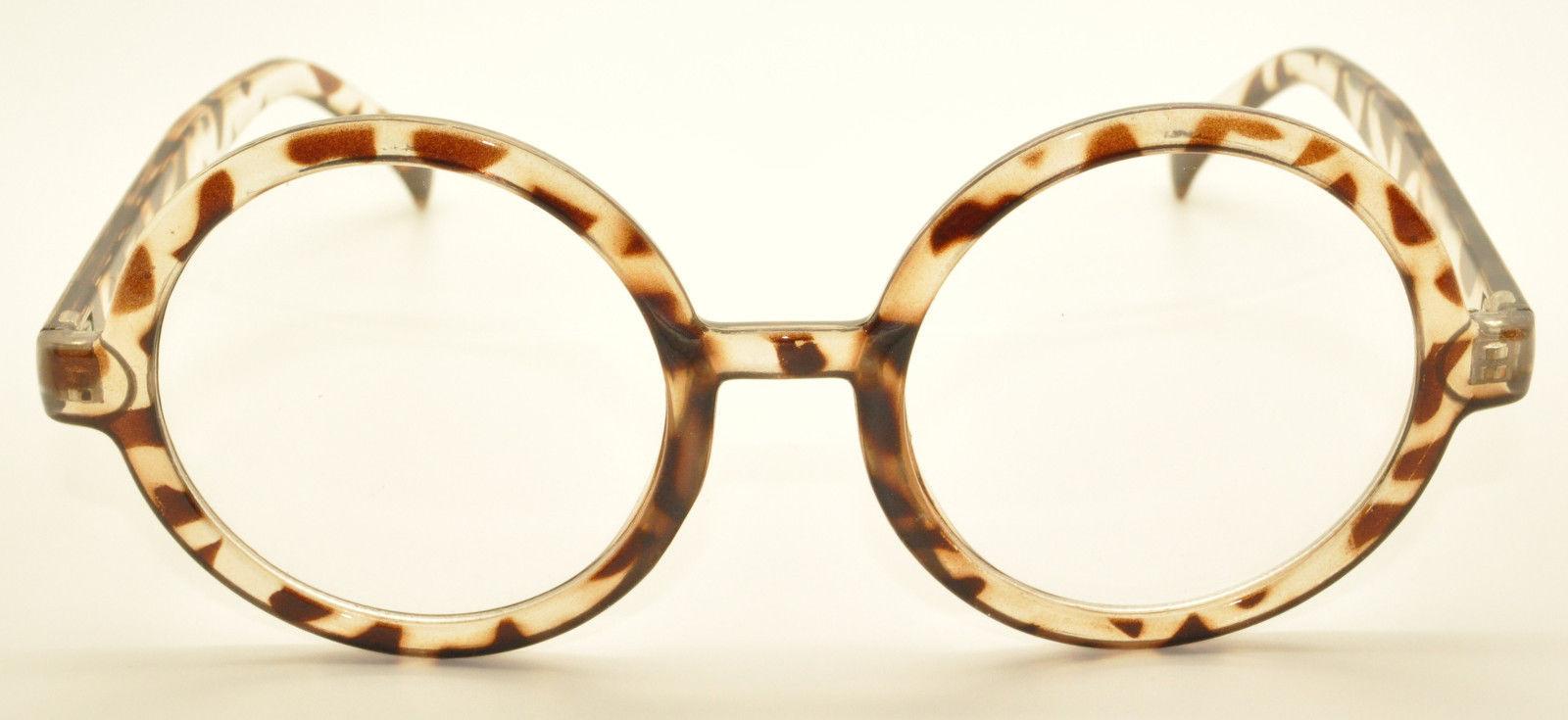 Leopard Vintage Geek Nerd Style Clear Lens Glass Frames Wizard Round Eyewear USA
