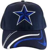 Dallas Large Star Men's Curved Brim Adjustable Baseball Cap Hat NAVY - $9.99