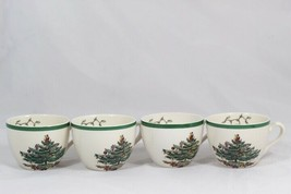 Lot of 4 Spode England Christmas Tree Porcelain Teacups 8 Oz - $38.60