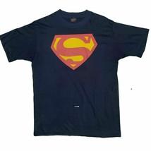 Vintage 70s Superman Herren M Brust Logo Dc Comics Superheld Hemd Marine... - $41.88