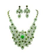 Fancy Bib Necklace Earrings Set Green Crystal R... - $79.08