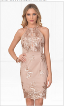 Beige Gold Sequin Halter Cut Out Bodycon Mini Dress NWOT - $406,23 MXN