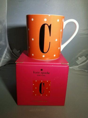 "Kate Spade Letter ""C"" Orange polka dot Coffee Mug"