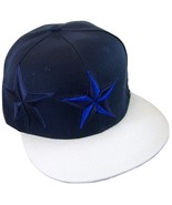 Dallas Men's Fitted Flat Bill Baseball Cap Hat Navy Blue with White Brim - $9.95