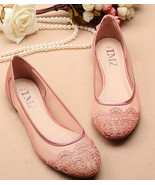 Pink Lace Wedding Shoes,Pink See Through Bridal Shoes,Pink Lace flats shoes - $38.00