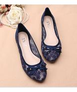Royal Blue See Through Bridal Ballet Flats Shoes,Navy Blue Wedding Flats... - $38.00