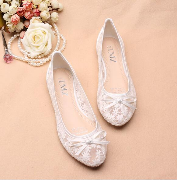 Primary image for White See Through Bridal Ballet Flats Shoes,White Wedding Flats shoes