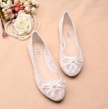 White See Through Bridal Ballet Flats Shoes,White Wedding Flats shoes - $38.00