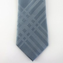 Kenneth Cole Reaction Neck Tie Blue Texture Grid 100% Silk Mens New - $13.99