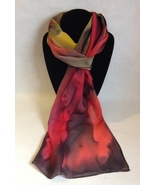 Hand Painted Silk Scarf Yellow Watermelon Red Olive Green Unique Gift Re... - $44.00