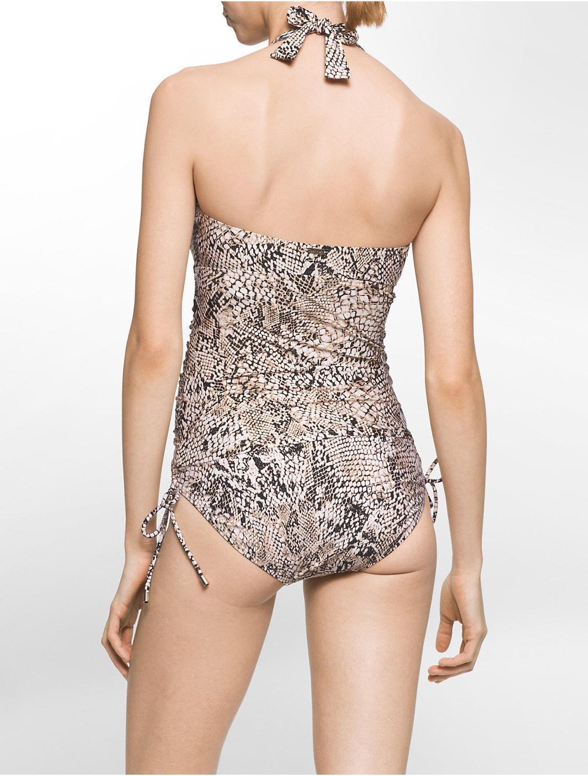 NEW Calvin Klein Snake-Print Side-Tie Swim Bikini Bottoms M Medium $68 CG6BD089