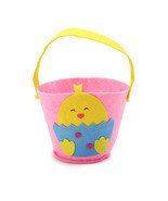 Felt Easter Basket - Chick pink and yellow Bran... - $4.25