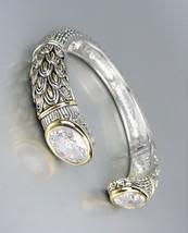 STUNNING Designer Inspired Clear Quartz CZ Crystals Balinese Cuff Bracelet - $39.99