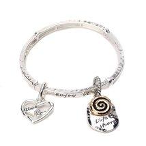 Life is Short Inspirational Wardrobe Stretchable White Metal Bracelet - $393,54 MXN