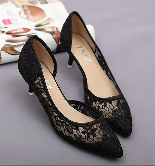 Primary image for Black See Through Lace Wedding Shoes,Black/Ivory Lace Low Heels Bridal shoes