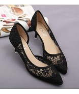 Black See Through Lace Wedding Shoes,Black/Ivory Lace Low Heels Bridal s... - $48.00