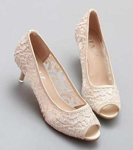 Primary image for Nude Wedding Shoes, Wedding Heels, Nude Low Heels, Nude Peep Toe Bridal Shoes
