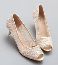 Nude Wedding Shoes, Wedding Heels, Nude Low Heels, Nude Peep Toe Bridal ... - $48.00