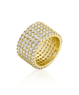 14k Gold Rhodium Bonded Wide Pave Cubic Zirconia Ring - $100.00