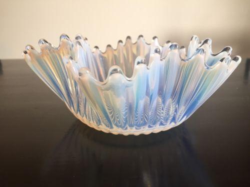Vintage Fostoria Bowl Centerpiece Opalescent Heirloom Handkerchief Dish