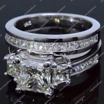 Engagement Wedding Ring Set In Princess Cut Diamond White Gold Plated 925 Silver - $121.99