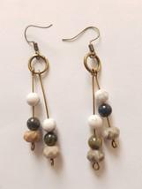 handmade drop dangle earrings with hoop pietersite agate and turquoise - $13.90