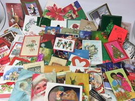 78 Pc Lot Vintage 70s 80s 90s Christmas Greeting Cards Santa Hallmark No... - $29.69