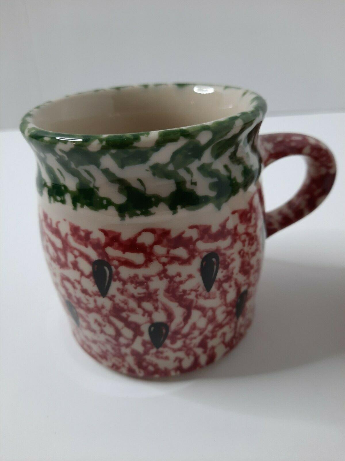 Roseville Pottery Gerald E Henn Watermelon Red and Green Spongeware Mug - $24.99