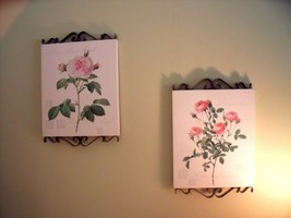HRF Home Interiors Set 2 BLACK IRON SCROLL PINK ROSE Wall PICTURES Plaqu... - $69.30