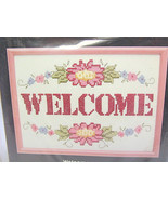 Welcome sign flowers counted cross stitch kit 60349 1988 - $11.75
