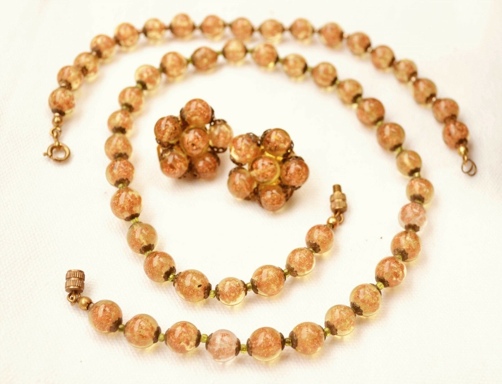 Vintage/atq golden Murano aventurine glass bead demi: necklace/bracelet/earrings