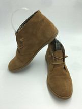 Lucky Brand 6 Ashbee Tan Suede Leather Boots Booties Shoes Elastic Lace - $36.99