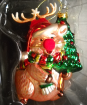 TJX Christmas Ornament Chipmunk Disguised As Rudolph Antlers Red Nose Boxed - $8.99