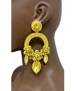 "5"" Long Statement Hoop Evening Earring Yellow Crystal Drag Queen Costume... - $29.07"