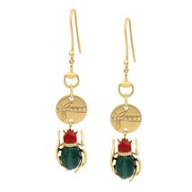 Gucci 18K Yellow Gold Scarab Malachite Diamond Ladies Earrings 0.15cts - $2,599.00