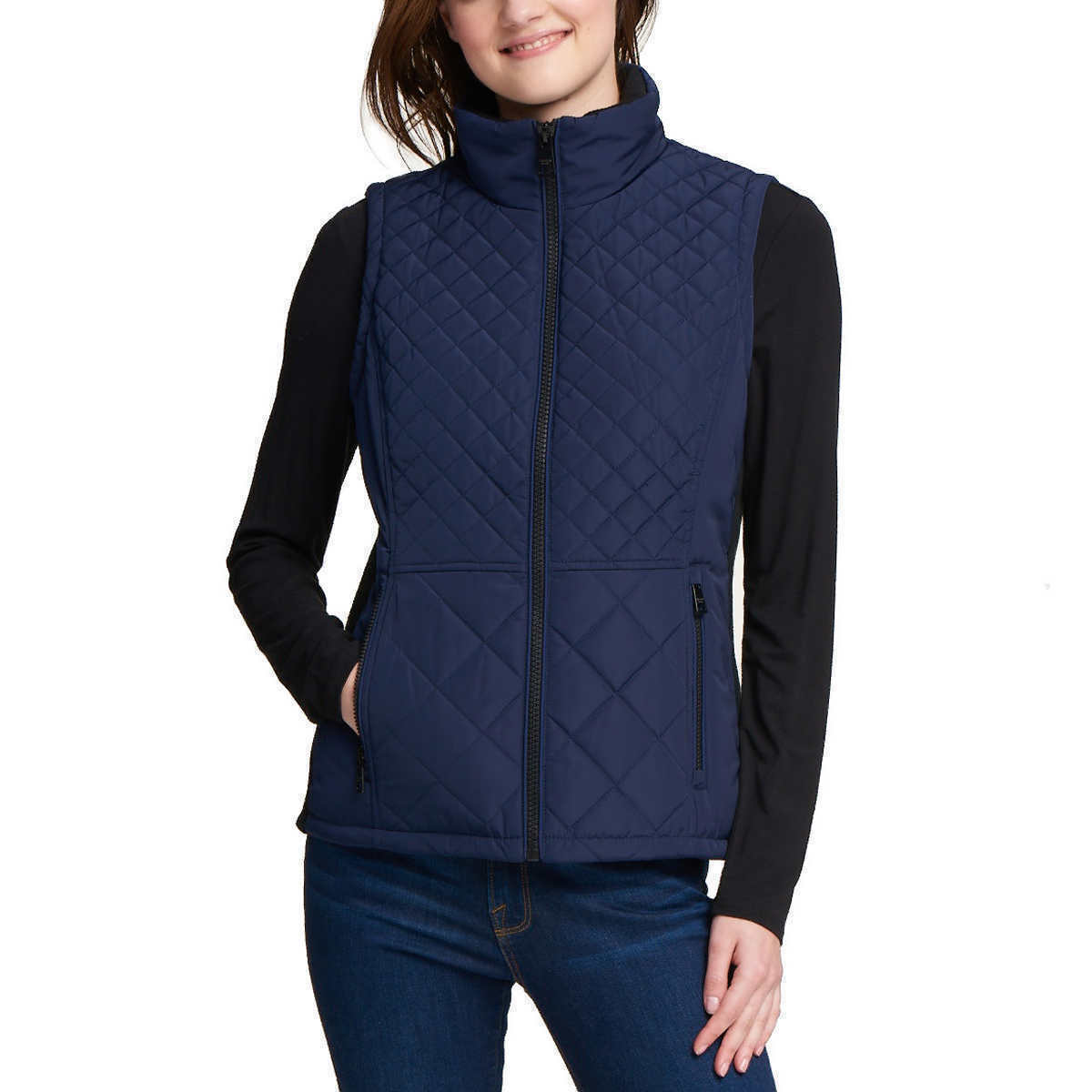 NEW Andrew Marc Women's Marine Blue Quilted Insulated Zip Up Vest