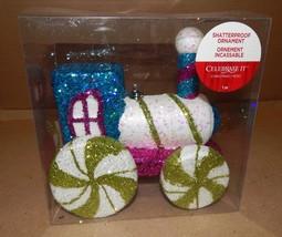 """Christmas Ornament Shatterproof 7"""" x 7"""" Glitter Train Foam Celebrate It ... - $12.49"""