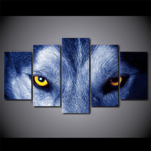 5 Pcs Wolf Eyes Poster Home Decor Wall Picture Printed Canvas Painting - $45.99+