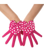 Polka Dot Pink Suede Bow Leather Gloves - $16.99