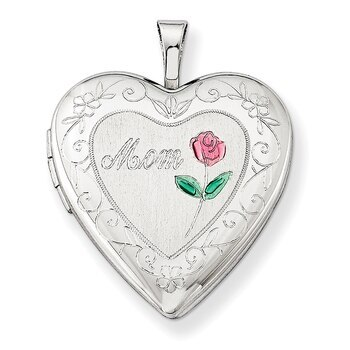 Primary image for Lex & Lu Sterling Silver 20mm D/C & Enameled Mom Heart Locket