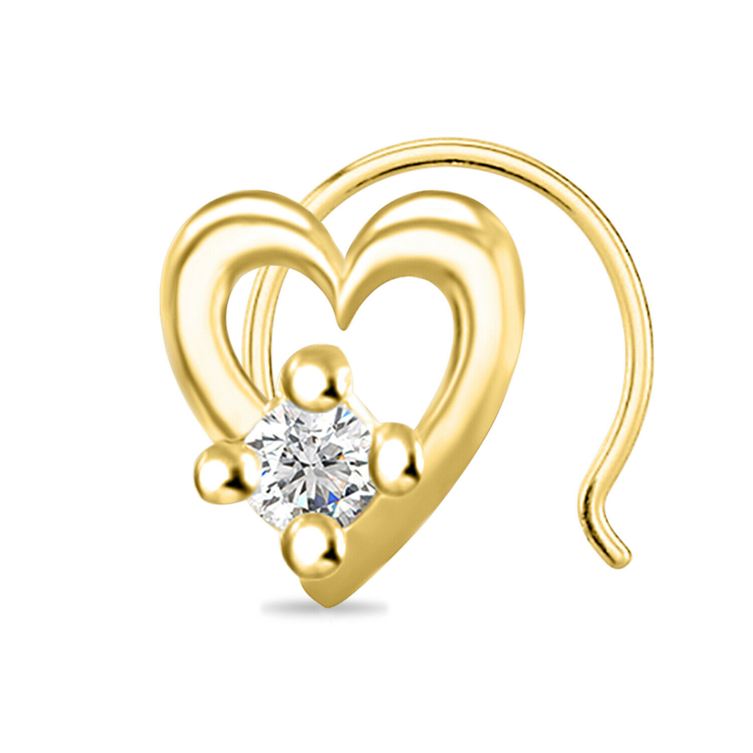 Primary image for 14k Yellow Gold Finish 0.84 ct Round Cut Diamond Heart Shape Solitaire Nose Pin