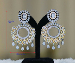 Vintage Ethnic Round Glass Crystal Antique Gold Rhinestone Long Dangle Earrings - $25.99