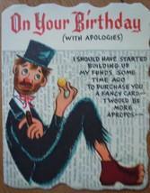 Mid Century Hallmark Bum On Your Birthday Card 1960s - $4.99