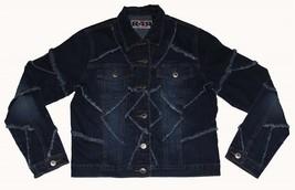 VTG? RAVE 4 REAL Denim Frayed Patchwork Dark & Light Jacket Wms/Jrs S EXC - $28.99