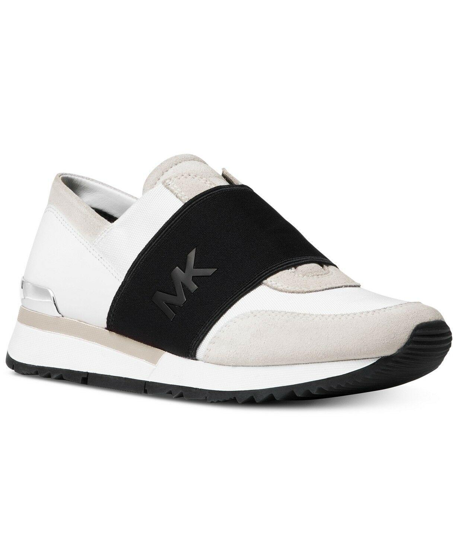 Michael Kors Women's MK Trainer Canvas Fashion Sneakers Shoes Optic White