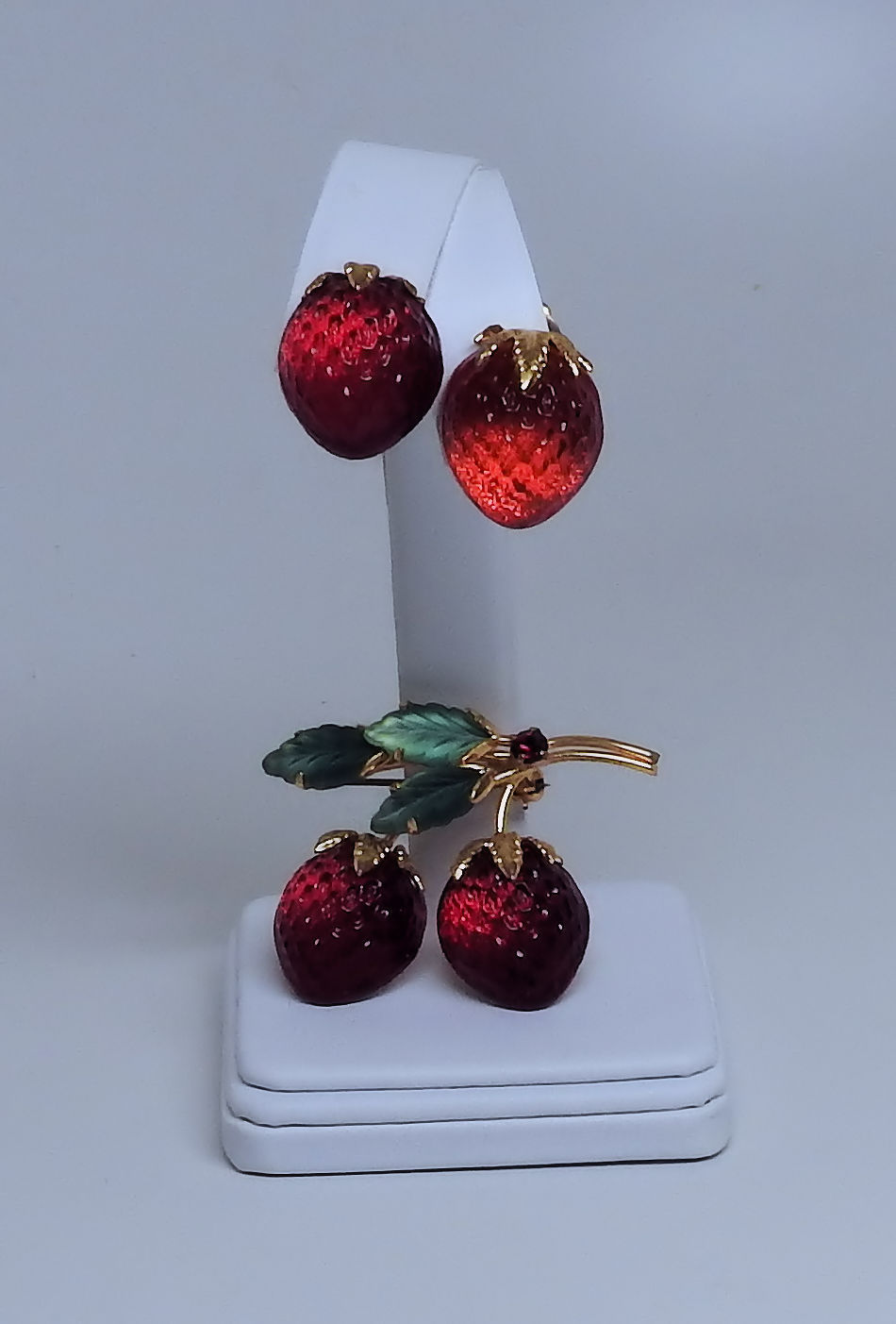 Austria Strawberry Pin With Matching Clip Back Earrings