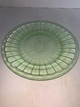 Green Depression Glass Jeannette Glass Co Snowflake Block Dinner Plate 8... - $20.00